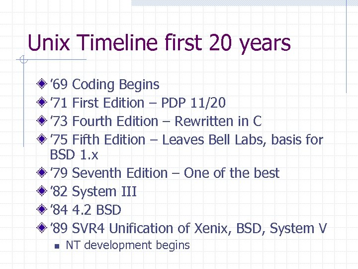 Unix Timeline first 20 years ' 69 Coding Begins ' 71 First Edition –
