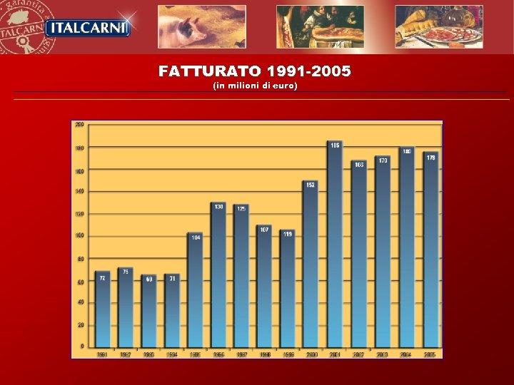 FATTURATO 1991 -2005 (in milioni di euro)