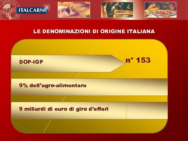 LE DENOMINAZIONI DI ORIGINE ITALIANA DOP-IGP 9% dell'agro-alimentare 9 miliardi di euro di giro