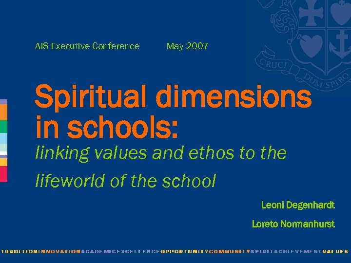AIS Executive Conference May 2007 Spiritual dimensions in schools: linking values and ethos to
