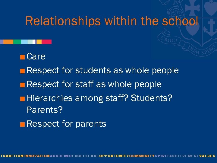 Relationships within the school < Care < Respect for students as whole people <