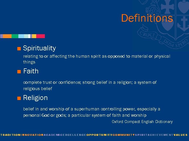 Definitions < Spirituality relating to or affecting the human spirit as opposed to material