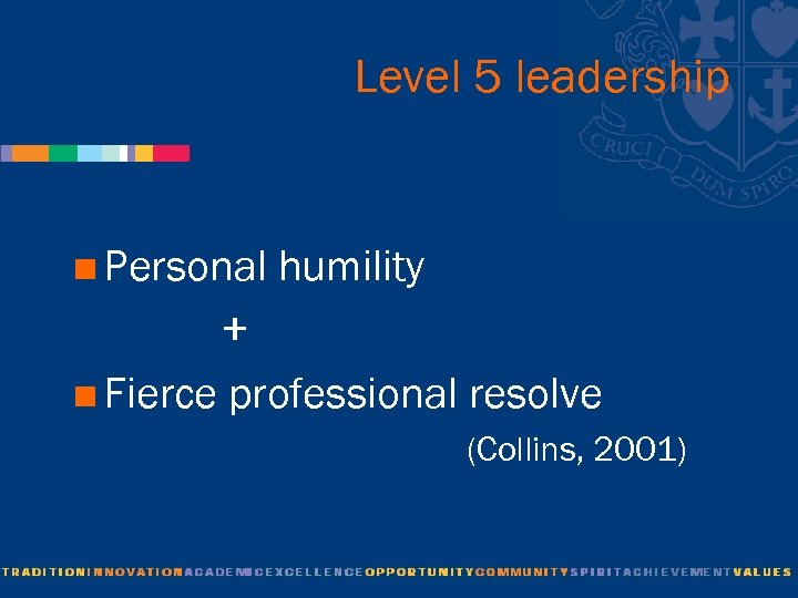 Level 5 leadership <Personal humility + <Fierce professional resolve (Collins, 2001)