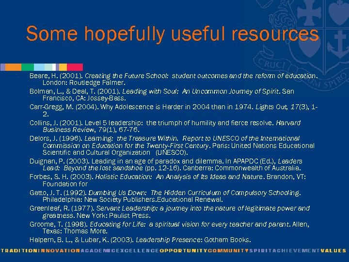 Some hopefully useful resources Beare, H. (2001). Creating the Future School: student outcomes and