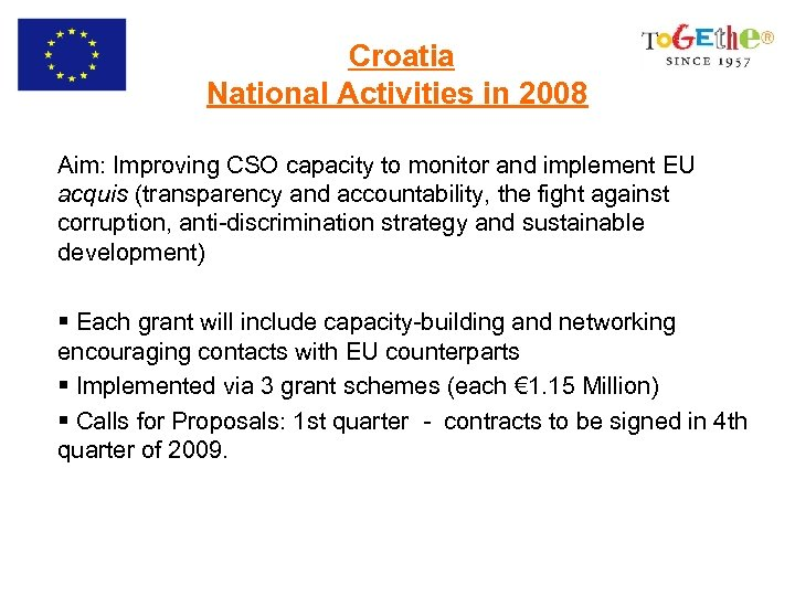Croatia National Activities in 2008 Aim: Improving CSO capacity to monitor and implement EU