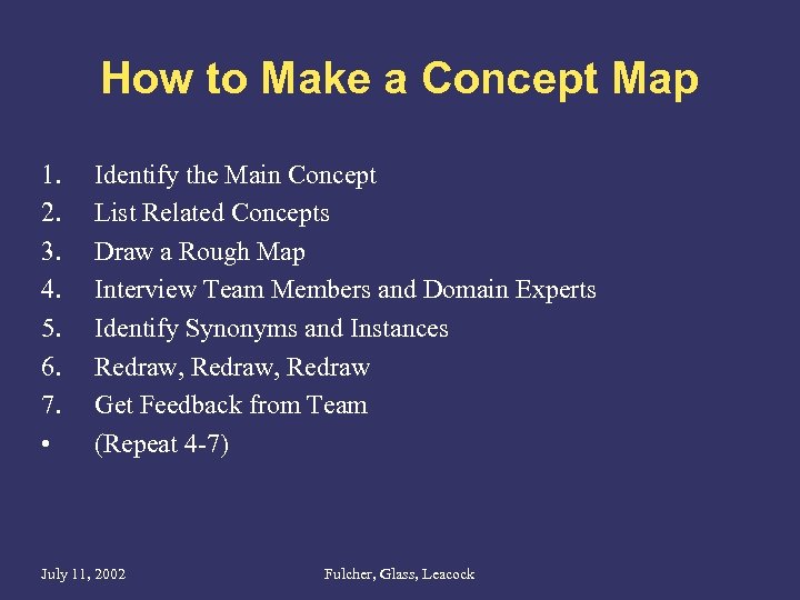 How to Make a Concept Map 1. 2. 3. 4. 5. 6. 7. •