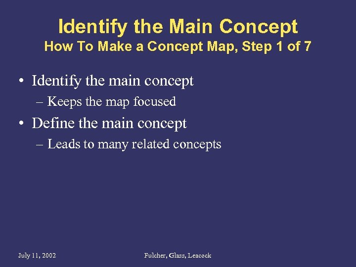 Identify the Main Concept How To Make a Concept Map, Step 1 of 7