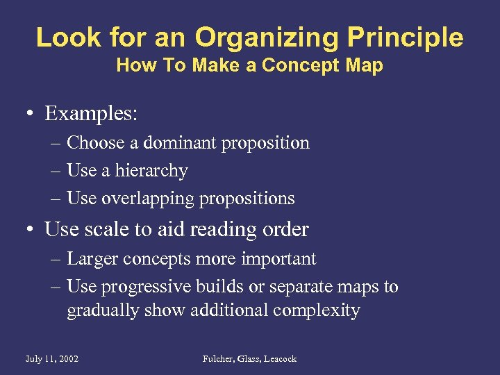 Look for an Organizing Principle How To Make a Concept Map • Examples: –