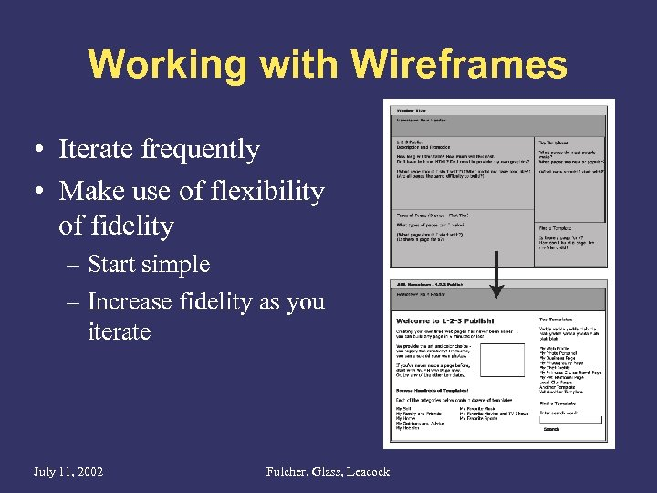 Working with Wireframes • Iterate frequently • Make use of flexibility of fidelity –