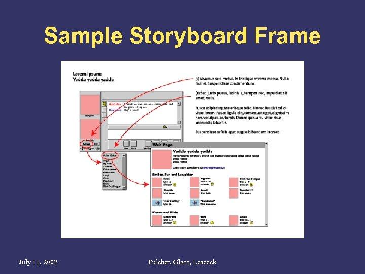 Sample Storyboard Frame July 11, 2002 Fulcher, Glass, Leacock