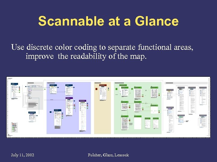 Scannable at a Glance Use discrete color coding to separate functional areas, improve the