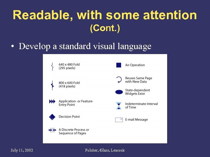 Readable, with some attention (Cont. ) • Develop a standard visual language July 11,