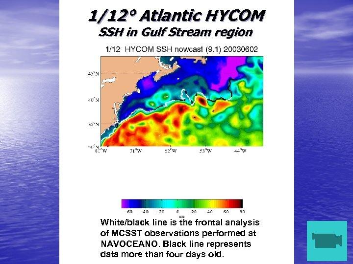 1/12° Atlantic HYCOM SSH in Gulf Stream region White/black line is the frontal analysis