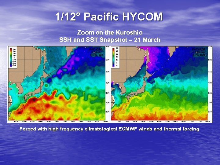 1/12° Pacific HYCOM Zoom on the Kuroshio SSH and SST Snapshot – 21 March