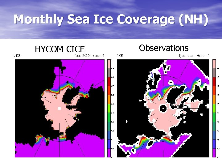 Monthly Sea Ice Coverage (NH) HYCOM CICE Observations
