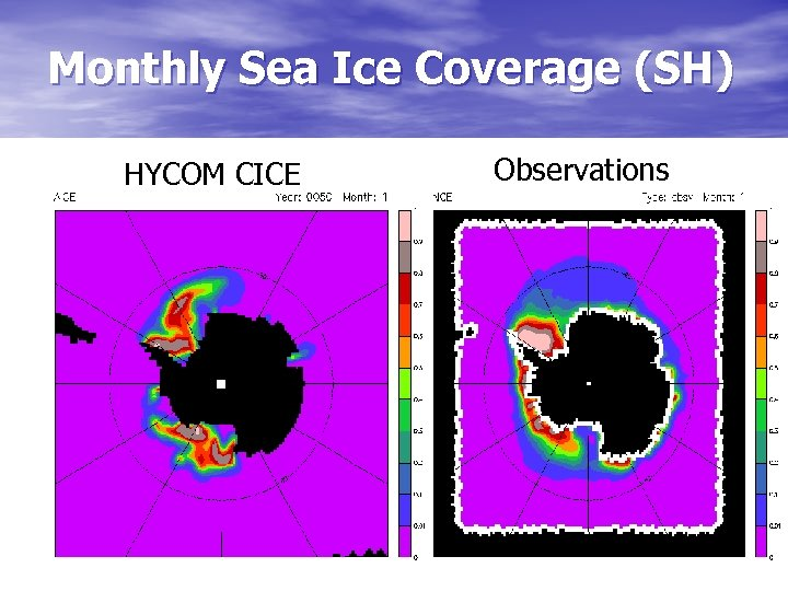 Monthly Sea Ice Coverage (SH) HYCOM CICE Observations