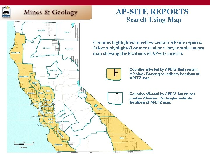 AP-SITE REPORTS Search Using Map Counties highlighted in yellow contain AP-site reports. Select a