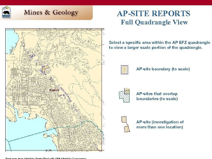 AP-SITE REPORTS Full Quadrangle View Select a specific area within the AP EFZ quadrangle