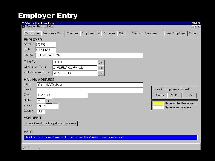 Employer Entry