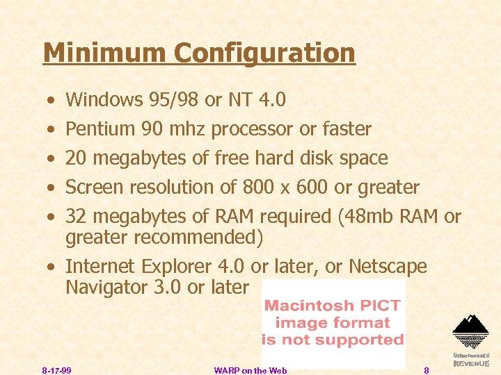 Minimum Configuration • • • Windows 95/98 or NT 4. 0 Pentium 90 mhz