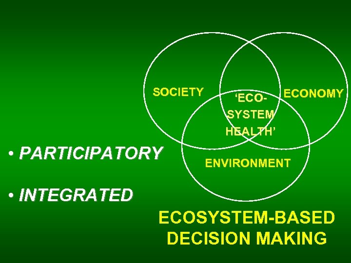 SOCIETY • PARTICIPATORY 'ECO- ECONOMY SYSTEM HEALTH' ENVIRONMENT • INTEGRATED ECOSYSTEM-BASED DECISION MAKING