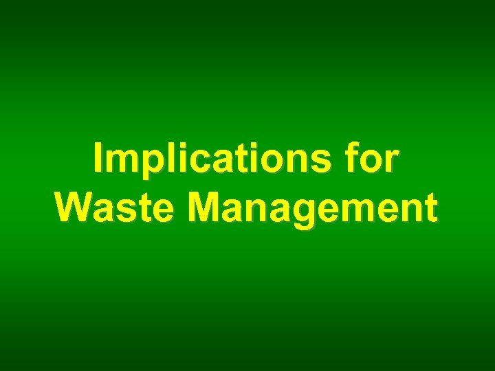 Implications for Waste Management
