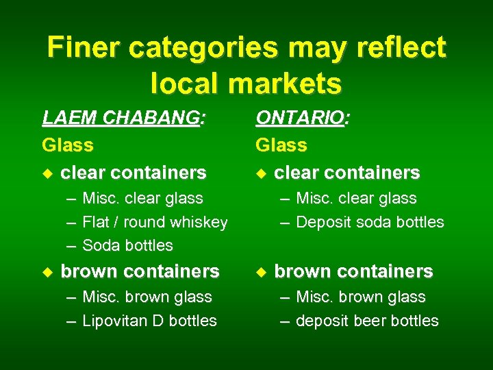 Finer categories may reflect local markets LAEM CHABANG: Glass u clear containers – –