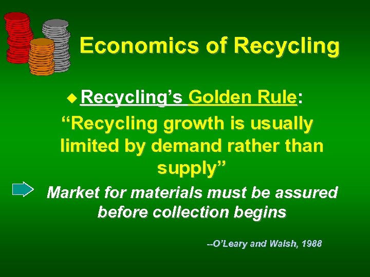 """Economics of Recycling u Recycling's Golden Rule: """"Recycling growth is usually limited by demand"""