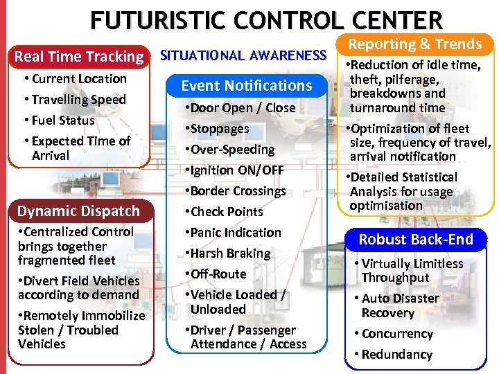 FUTURISTIC CONTROL CENTER Real Time Tracking SITUATIONAL AWARENESS • Current Location • Travelling Speed