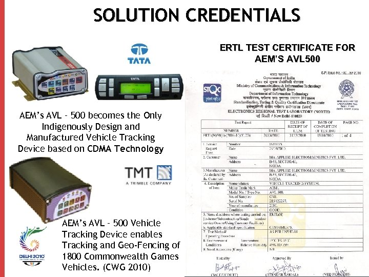 SOLUTION CREDENTIALS ERTL TEST CERTIFICATE FOR AEM'S AVL 500 AEM's AVL – 500 becomes
