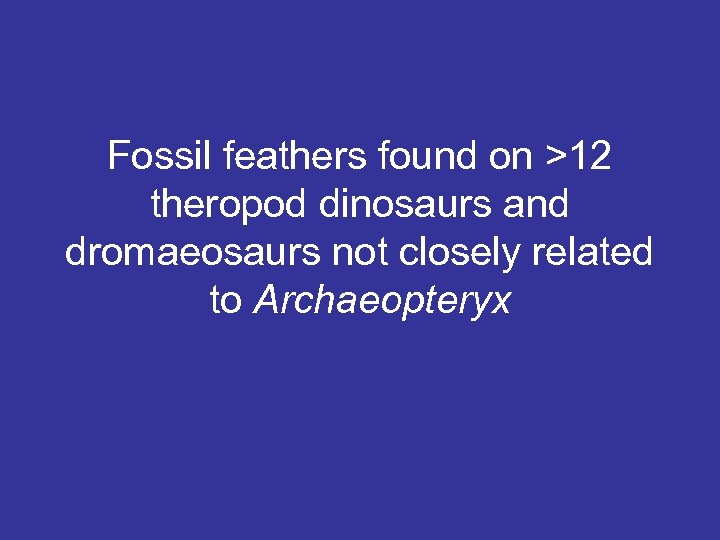 Fossil feathers found on >12 theropod dinosaurs and dromaeosaurs not closely related to Archaeopteryx
