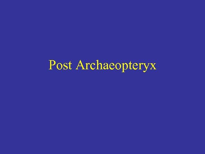 Post Archaeopteryx