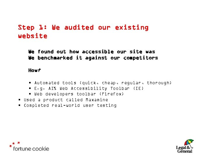 Step 1: We audited our existing website We found out how accessible our site