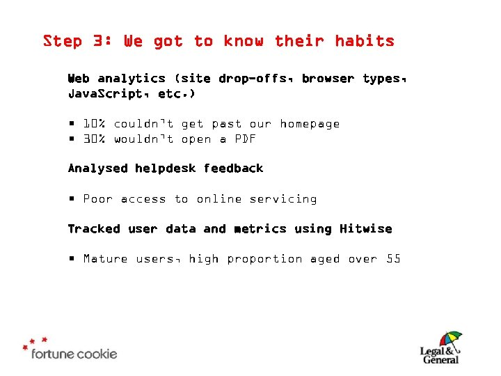 Step 3: We got to know their habits Web analytics (site drop-offs, browser types,