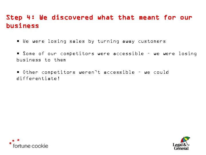 Step 4: We discovered what that meant for our business • We were losing