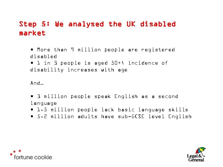 Step 5: We analysed the UK disabled market • More than 9 million people