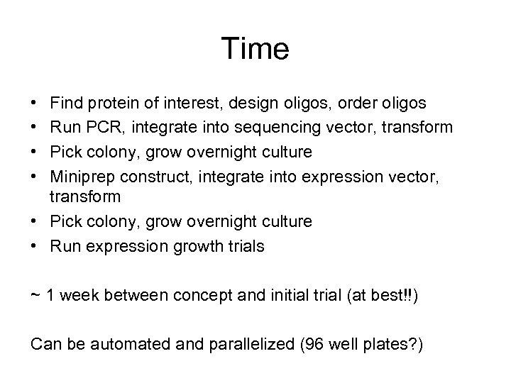 Time • • Find protein of interest, design oligos, order oligos Run PCR, integrate
