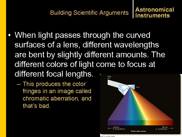 Building Scientific Arguments Astronomical Instruments • When light passes through the curved surfaces of