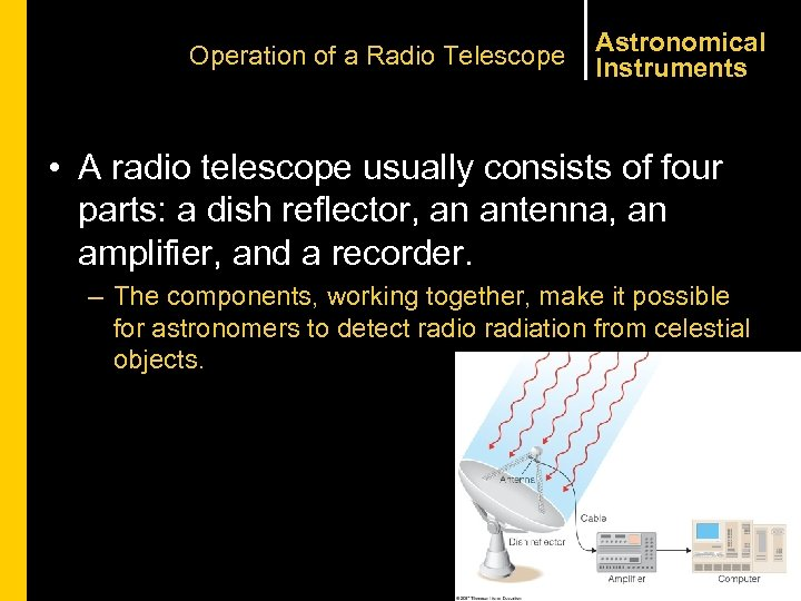 Operation of a Radio Telescope Astronomical Instruments • A radio telescope usually consists of