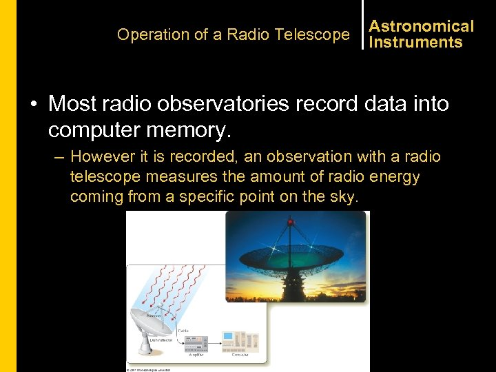 Operation of a Radio Telescope Astronomical Instruments • Most radio observatories record data into