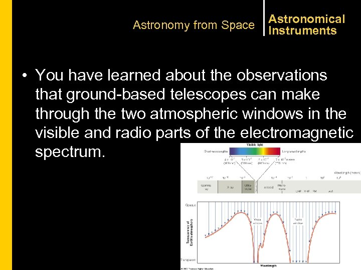 Astronomy from Space Astronomical Instruments • You have learned about the observations that ground-based