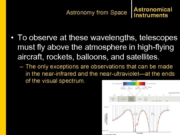Astronomy from Space Astronomical Instruments • To observe at these wavelengths, telescopes must fly