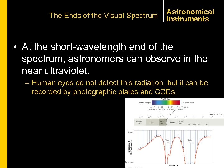 The Ends of the Visual Spectrum Astronomical Instruments • At the short-wavelength end of