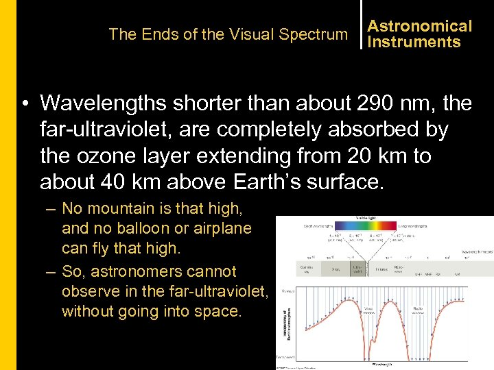 The Ends of the Visual Spectrum Astronomical Instruments • Wavelengths shorter than about 290