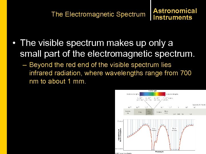 The Electromagnetic Spectrum Astronomical Instruments • The visible spectrum makes up only a small