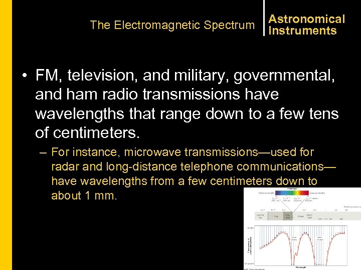 The Electromagnetic Spectrum Astronomical Instruments • FM, television, and military, governmental, and ham radio