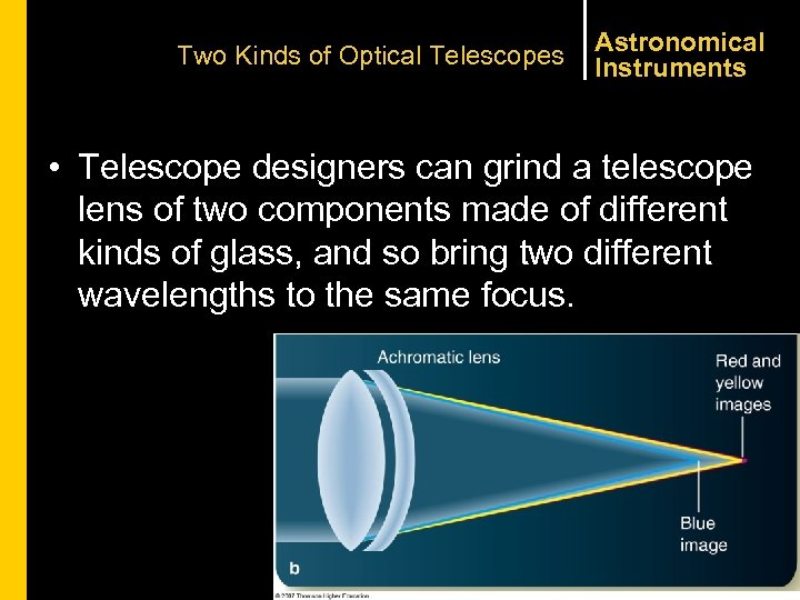 Two Kinds of Optical Telescopes Astronomical Instruments • Telescope designers can grind a telescope