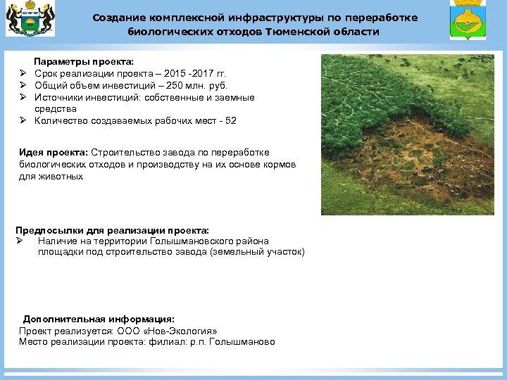 Создание комплексной инфраструктуры по переработке биологических отходов Тюменской области Ø Ø Параметры проекта: Срок