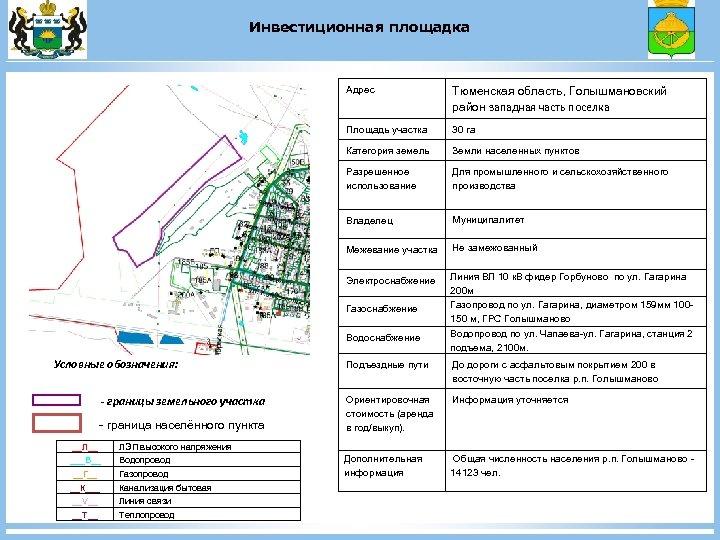 Инвестиционная площадка Адрес Тюменская область, Голышмановский район западная часть поселка Площадь участка 30 га
