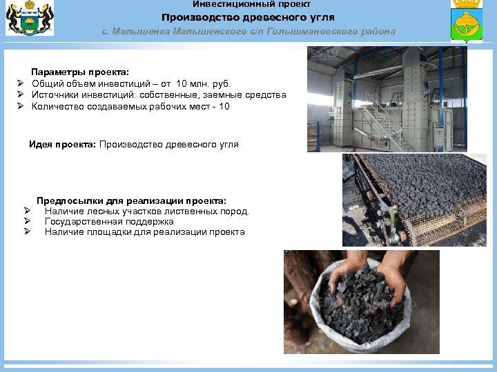 Инвестиционный проект Производство древесного угля с. Малышенка Малышенского с/п Голышмановского района Параметры проекта: Ø
